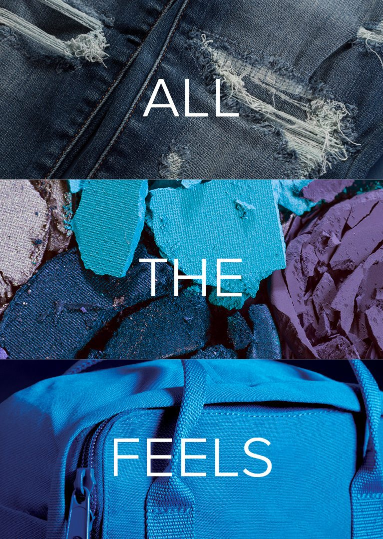 image of ripped blue jeans blue pieces of eye shadow and a blue backpack